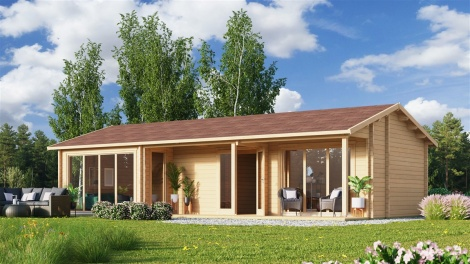 LOG CABIN with multiple rooms CASABLANCA 70 | 11.2 x 6 m ( 36'9'' x 19'6'') 70 mm