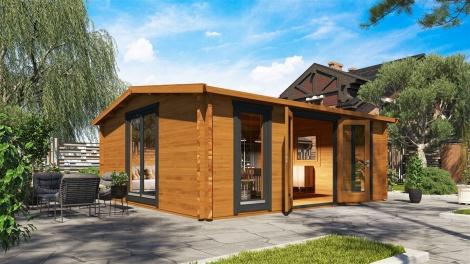 Gable roof garden cabin DAVOS 70 C | 5.9 x 5.4 m ( 19'4'' x 17'8'') 70 mm