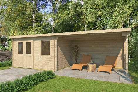 Compact summerhouse with a generous veranda GENT 28 C | 7.6x2.8m (25'x9'2'') 28 mm