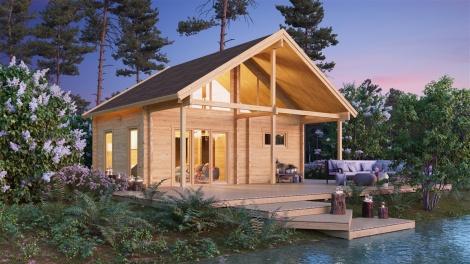Log Cabin with a Sauna Room MARIT 90 | 7.6 x 7.4 m (24'11' x 23'2'') 90 mm