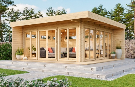 Contemporary wooden cabin MILA 70 | 6 m x 6 m (19'8'' x 19'8'') 70mm