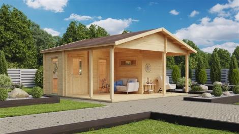 3-room sauna cabin OSKAR 70 | 6.1 x 5.6 m (20' x 18'4'') 70 mm