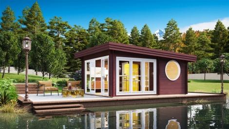 NEW! Light-filled sauna cabin Tanonka 70 | 4.8 x 6 m (15'9'' x 19'7'') 70 mm