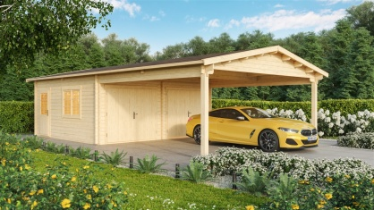 DOUBLE GARAGE AND CARPORT 44 for 4 vehicles | 10.6m x 5.3m (35' x 19' 6'') 44mm