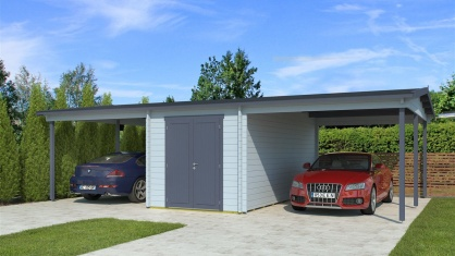 Two carports with a shed, the HANS 44 | 9.6m x 6.1m (31' 6'' x 20' 1'') 44mm